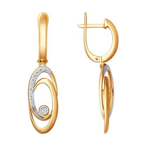 Серьги из золота с бриллиантами (1021238) - фото