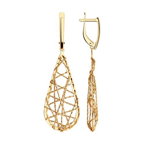 Серьги из золота с алмазной гранью (028718) - фото