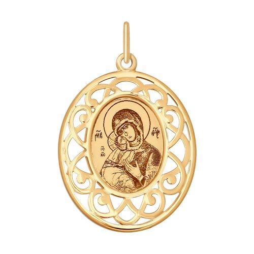 Золотая иконка с ликом Божьей Матери Владимирской (104118) - фото