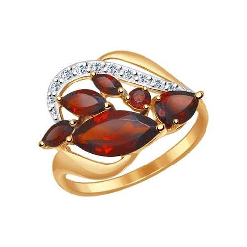Кольцо из золота с гранатами и фианитами (714500) - фото