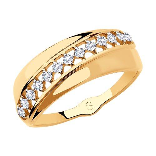 Кольцо из золота с фианитами (018189) - фото