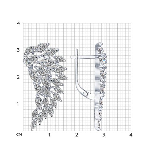 Серьги из серебра с фианитами (94022194) - фото №2