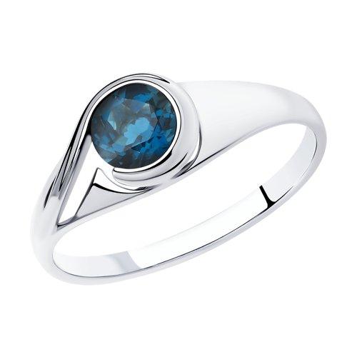 Кольцо из серебра с синим топазом (92011835) - фото