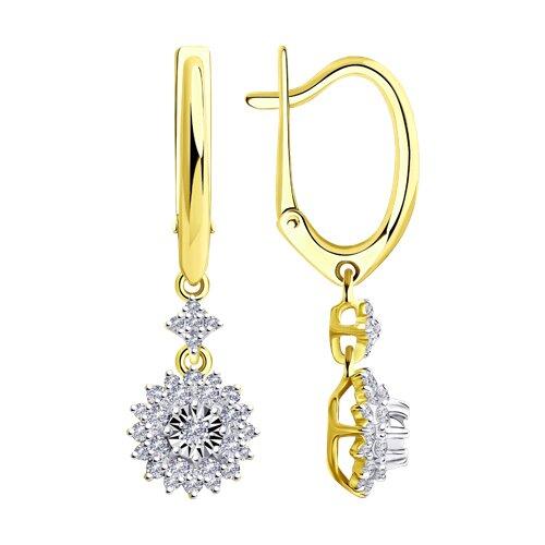 Серьги из комбинированного золота с бриллиантами (1021538-2) - фото