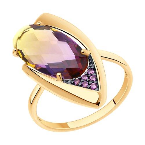 Кольцо из золота с ситаллом и сиреневыми фианитами