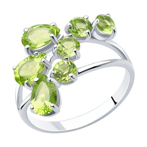 Кольцо с хризолитом серебряное (92010615) - фото