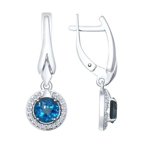 Серьги из серебра с синими топазами и фианитами (92021610) - фото