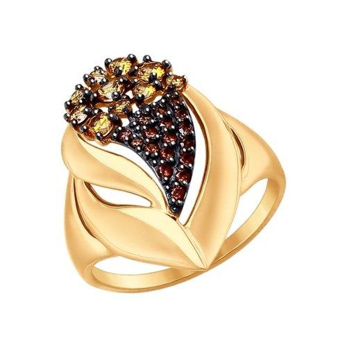 Кольцо из золота с коричневыми фианитами