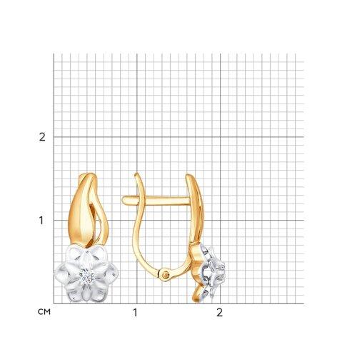 Серьги из комбинированного золота с бриллиантами (1020887) - фото №2