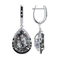 Серьги из серебра с чёрными кристаллами Swarovski и фианитами