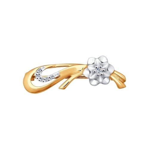 Брошь из комбинированного золота с бриллиантами