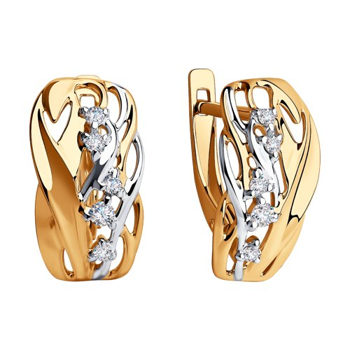 Серьги из золота с фианитами (028285) - фото №2