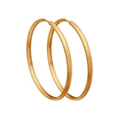 """Золотые серьги """"Конго"""", диаметром 40 мм. 140109 sokolov фото"""