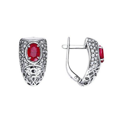 Серебряные серьги с крупным красным фианитом SOKOLOV