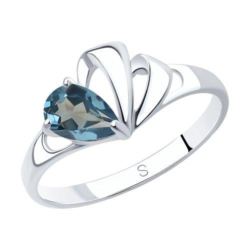 Кольцо из серебра с синим топазом (92011582) - фото