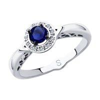 Кольцо из белого золота с бриллиантами и синим корунд (синт.)
