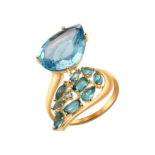 Кольцо из золота с зелеными и голубым кварцем