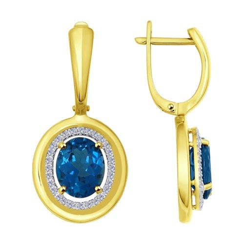 Серьги SOKOLOV из желтого золота с бриллиантами и синими топазами