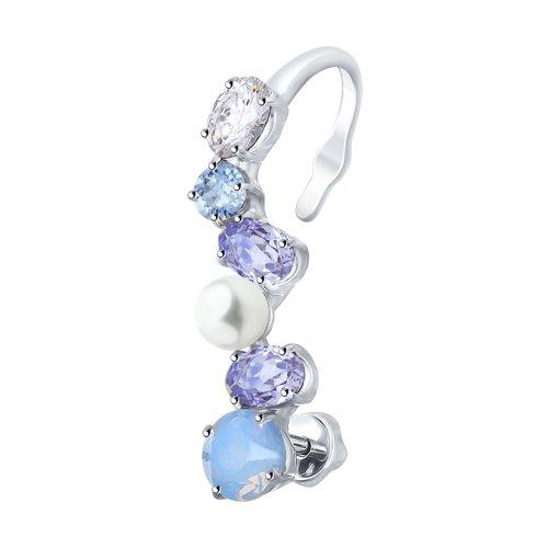 Серьга SOKOLOV из серебра с жемчугом Swarovski и кристаллами Swarovski серьга из серебра с жемчугом swarovski и синим кристаллом swarovski