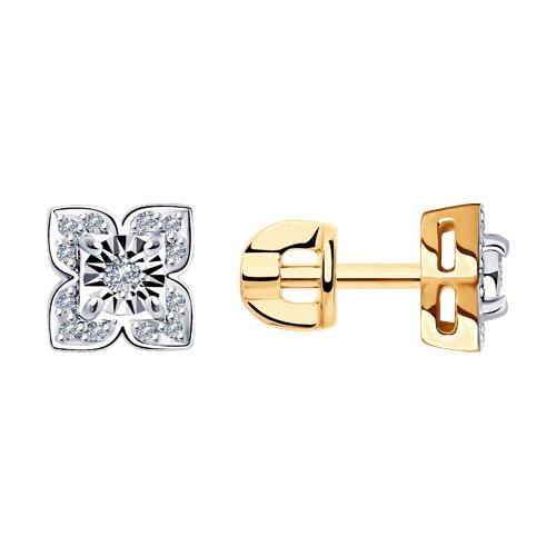 Серьги из комбинированного золота с бриллиантами 1021481 SOKOLOV фото