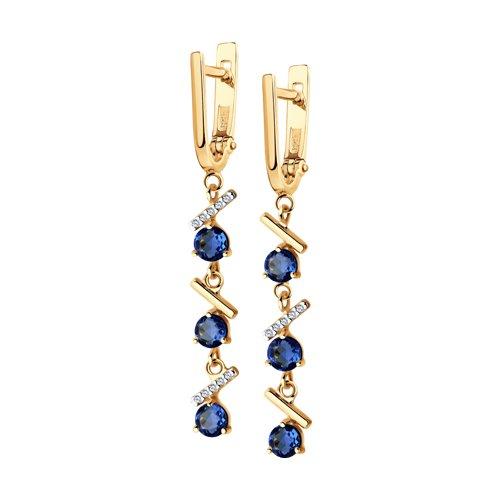 Серьги из золота с синими корунд (синт.) и фианитами (726199) - фото
