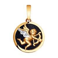 Золотая подвеска «Купидон» с авантюрином
