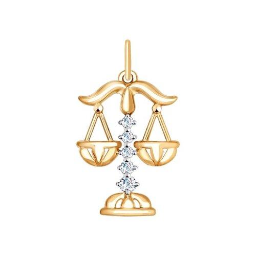 """Подвеска """"Знак зодиака Весы"""" из золота с фианитами 035129 sokolov фото"""