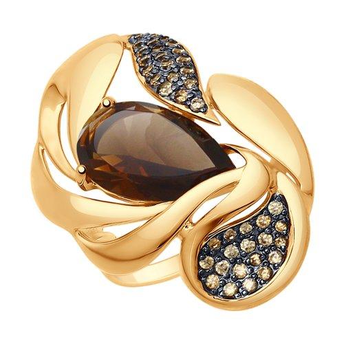 Кольцо из золота с раухтопазом и жёлтыми фианитами (37714803) - фото