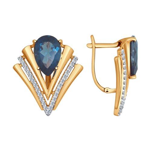 Серьги из золота с синими топазами и фианитами (37724493) - фото