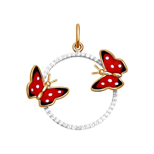 Подвеска бабочка SOKOLOV из золота с красной эмалью c фианитами