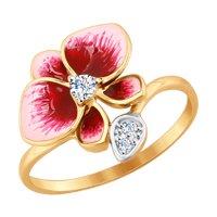Кольцо из золота с эмалью и фианитами
