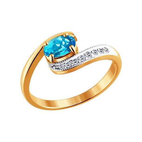 Кольцо с голубым топазом и крошечными фианитами SOKOLOV