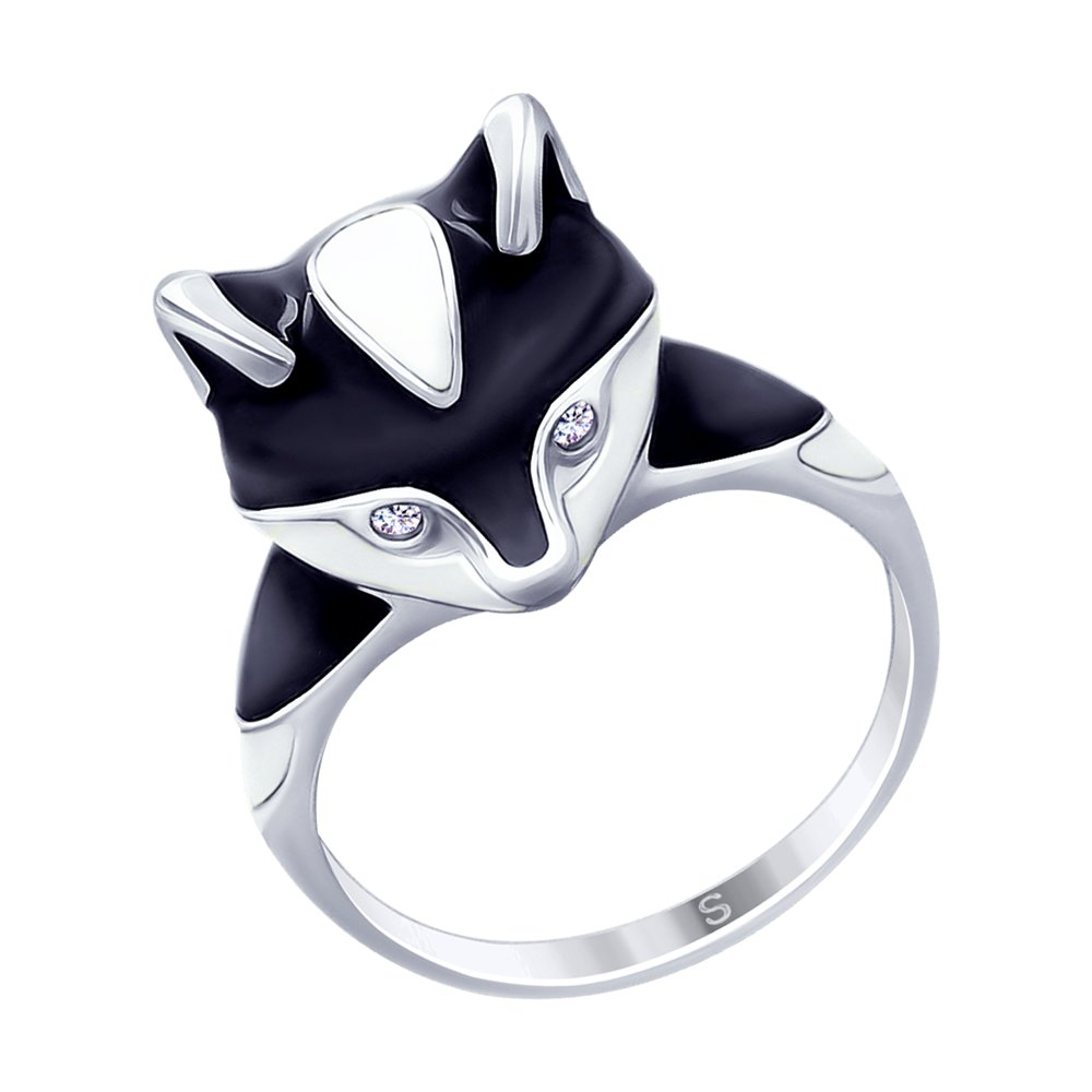 Серебряное кольцо с эмалью «Енот» SOKOLOV