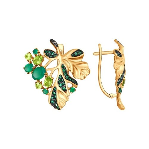 Серьги «Листья» из золота с миксом камней