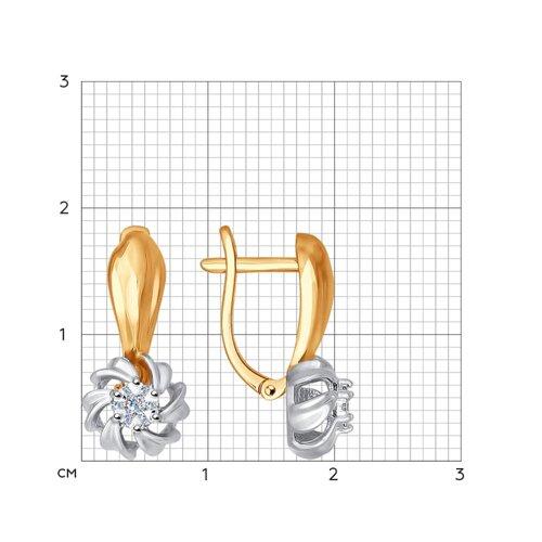 Серьги из комбинированного золота с бриллиантами 1021018 SOKOLOV фото 2