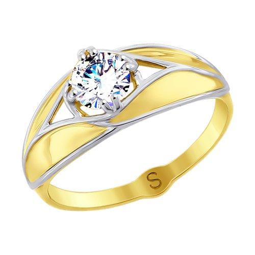 Кольцо из желтого золота с фианитом (017806-2) - фото