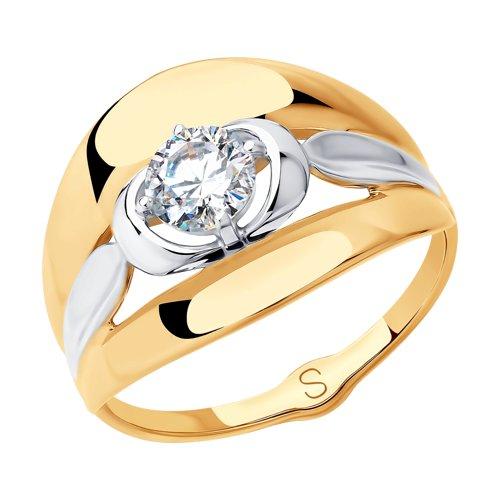 Кольцо из золота с фианитом (018162) - фото