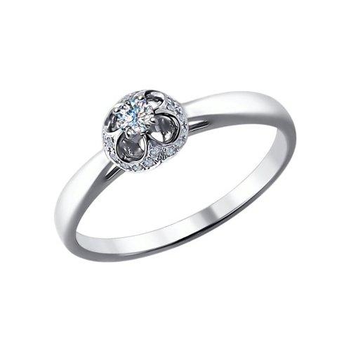 Помолвочное кольцо из белого золота с бриллиантами (1011463) - фото
