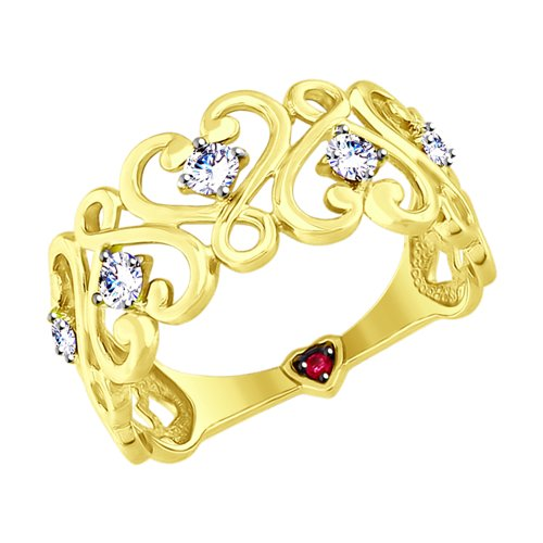 Кольцо из желтого золота с бесцветными и красным фианитами