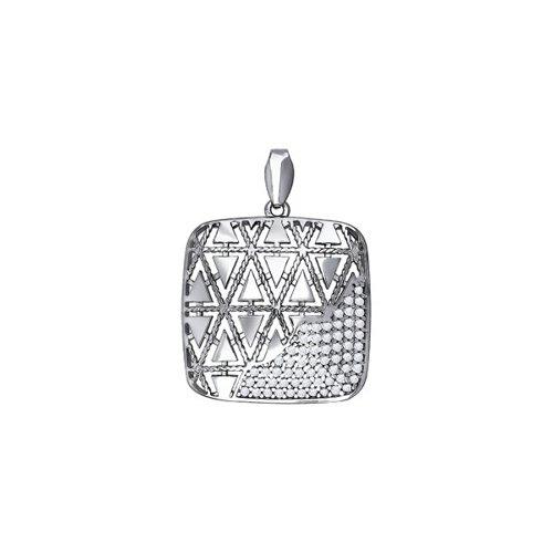 Квадратный кулон из серебра