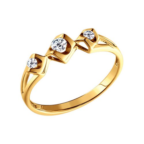 Золотое кольцо, три бриллианта SOKOLOV золотое кольцо ювелирное изделие 01k673222