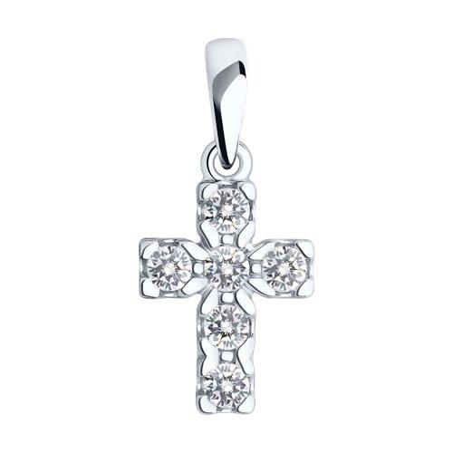 Крест из белого золота со Swarovski Zirconia