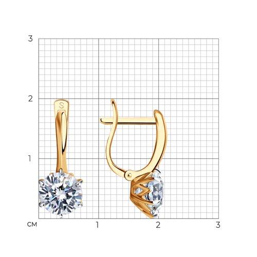Серьги из золота с фианитами (026704) - фото №2