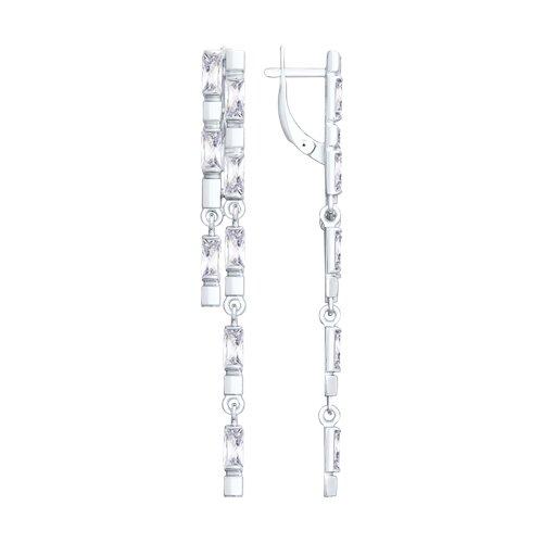 цена на Длинные серебряные серьги с фианитами SOKOLOV