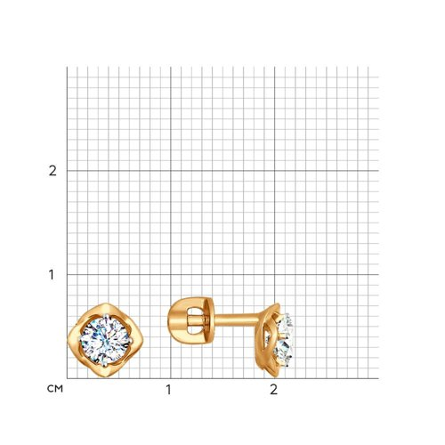 Серьги-пусеты из золота с фианитами (027468) - фото №2