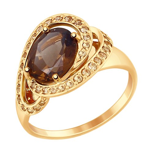 Кольцо из золота с раухтопазом и жёлтыми фианитами (714826) - фото