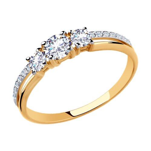 Кольцо из золота с фианитами (018468) - фото