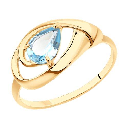 Кольцо из золота с голубым топазом