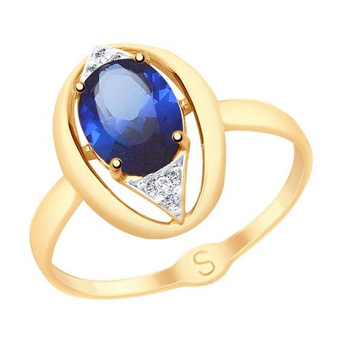 Кольцо из золота с синим корундом (синт.) и фианитами (715152) - фото