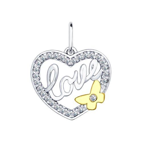Подвеска из серебра с фианитами «Love» (94031881) - фото